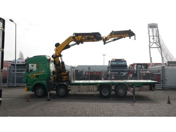 Kamyon Scania R 500 8X2 BOAT TRANSPORT WITH PALFINGER PK 85002 CRANE WITH JIB PJ 170